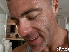 Ripped masseur gets a straighty oiled up for slippery anal sex