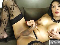 Spicy hot big boobs shemale fanta masturbates her hard cock