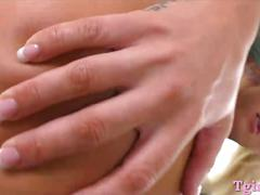 Busty blonde shemale fucked her horny partner in his anus