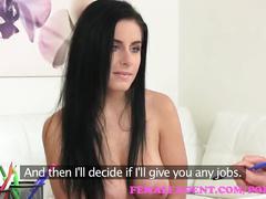 Femaleagent busty beauty fucked with big dildo