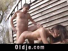 Old dude fucks hot brunette