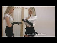Busty blondes in sexy leather gloves