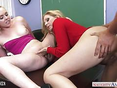 Lusty sex teacher julia ann share with coed mi...