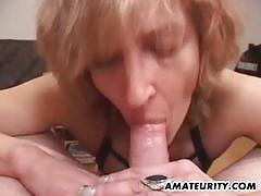 Mature amateur loves sucking hard cock