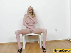 blonde, nylon, legs, fetish, mask, pantyhose, suit, high heels, nylons