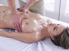 Oiled up brunette dillion harper hammered with...