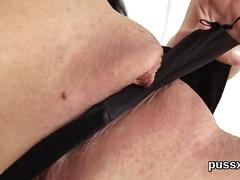 European nymph enjoys funny fuck toy and crams long dildo in quim