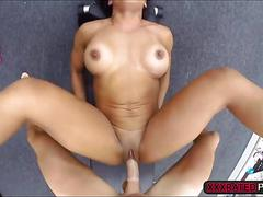 Fitness lady sucks cock and gets fucked