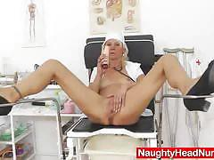 Mature nurse toys her warm pussy