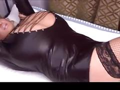 Blonde milf huge natural tits leather outfit tied up