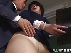 Horny teacher needs sex in the classroom