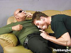 Inexperienced gay sucks the long dick of bald guy
