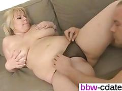Blonde plumper brings him to his hot orgasm