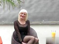Mature blonde bitch has a hot fuck outdoors in doggy style