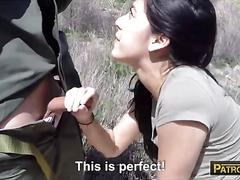 Petite latina banged by border patrol officer at the border