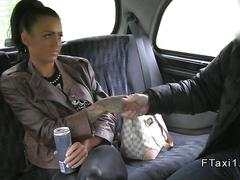 Busty brit wanks huge dick in a cab