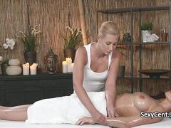 lesbian, massage, masturbation, babe, blonde, brunette, oil
