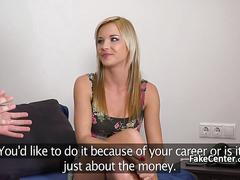 Blonde masseuse fucked on casting