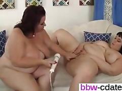 Two hot plumpers go crazy with toys on a couch