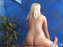 Hot blonde honey rams her pussy on a masseurs cock