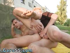 Stud gets sucked off and fucked spoon style in public