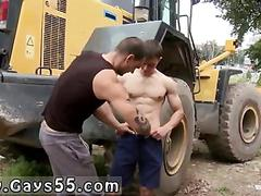 Ripped euro stud gets his cock sucked off in public