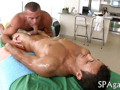 Hairy ass masseur gets bareback fucked by his straight client