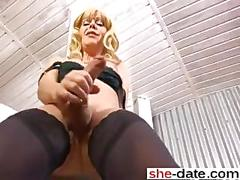 Ripe blonde shemale talks dirty and teases in lingerie