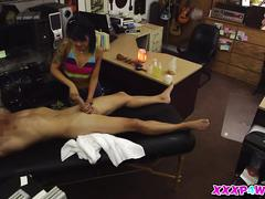 A massage turns into a fuck session at the pawnshop