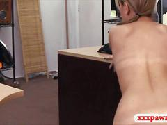 Pretty amateur blonde babe fucked by pawn guy in the office
