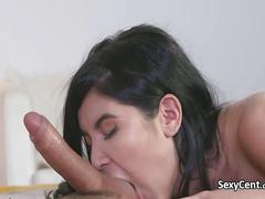 Brunette babe got cumshot in mouth