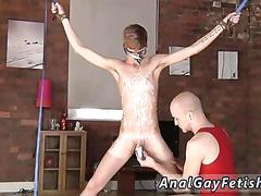 Skinny twink waxed and wanked off in bondage