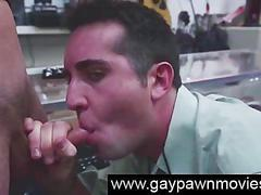 Straight amateur on camera sucking cock for cash in pawn shop