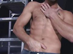 Stud rubs his crotch and jacks off solo