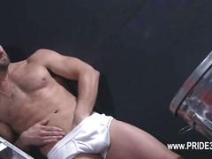 Stud rubs his crotch and jacks off solo
