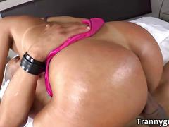 Hot shemale  britney colucci gets ass deeply reamed with a big cock