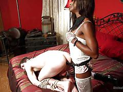 femdom, interracial, mistress, tied up, pegging, strapon anal, ebony babe, white lingerie, rope bondage, divine bitches, kink, tony orlando, ana foxxx