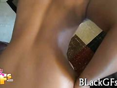 Alluring black chick bounces on a hard cock
