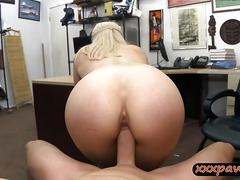 Sexy hot ass amateur blonde babe gets fucked by pawn guy