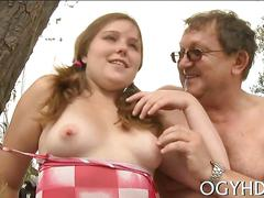 Horny  babe screwed by old guy feature