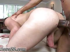 Big black hunk steamrolls a white guys ass doggy style
