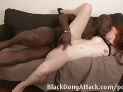 Slutty redhead loves big black cock
