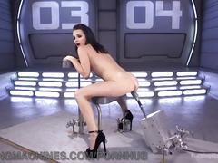 Big black dildos pound tiny stripper