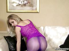 Pretty blonde in purple pantyhose