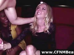 Stripper gets blowjobs from cfnm babes at party