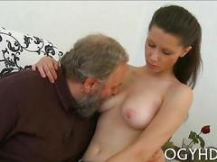 Fat old geezer fucks a cute russian brunette