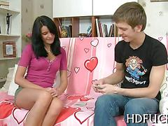 Brunette honey would rather fuck than play cards