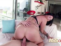 ass, big boobs, big cock, blowjob, brunette, natural, tit fucking, tit sucking