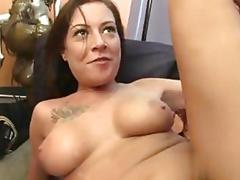 Tattooed amateur fucked on her couch with tits bouncing around