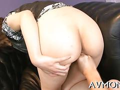 Asian doll gets her milf pussy toyed on the floor